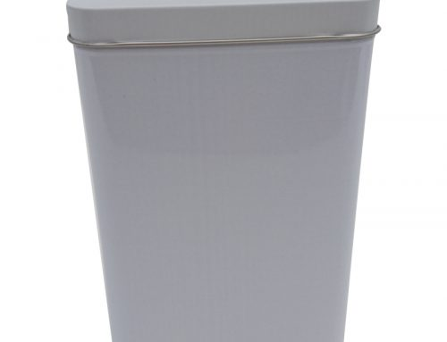 Cr17W Rectangular Tea Tin Box (White) 100x71x150mm