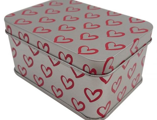 Cr16-HP Rectangular Heart Tin Box 100x71x50mm